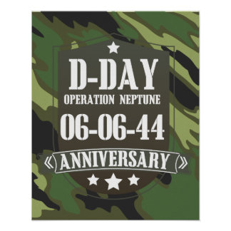 D-Day Anniversary Badge With camouflage Poster