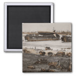 D-Day Assembling Equipment on Beach 2 Inch Square Magnet