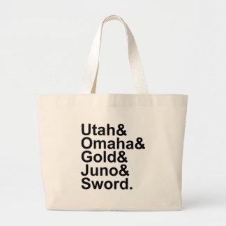 D-Day Beaches | Utah Omaha Gold Juno Sword Large Tote Bag