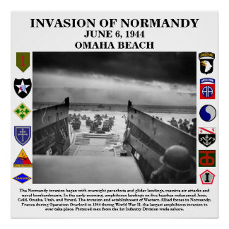 D-Day Invasion Of Normandy White Background Poster