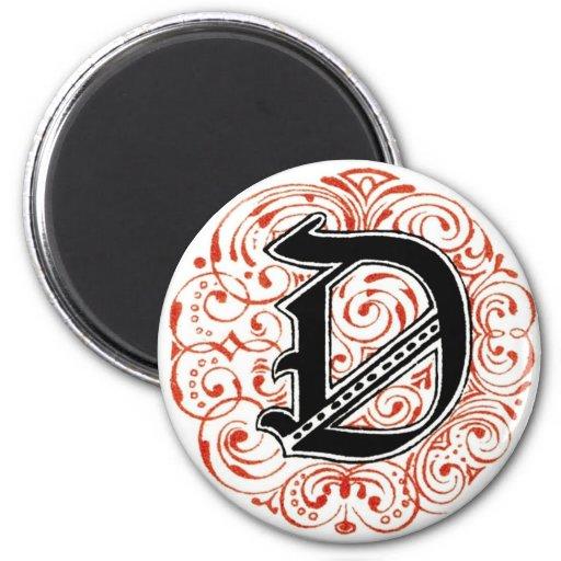 ` D del monograma' en el rojo - imán