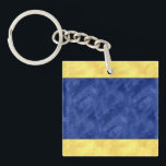 "D Delta Watercolor Nautical Signal Maritime Flag Keychain<br><div class=""desc"">Looking for a traditional nautical gift idea with a modern twist -- here&#39;s a maritime signal flag with a faux watercolor finish! This one is the signal flag for the Letter D Delta in cheerful yellow and royal blue, &quot;blue and yellow stripes, &quot;yellow blue color blocks look of watercolor. Looking...</div>"
