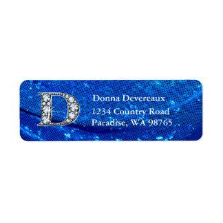 """D """"Diamond"""" Bling Monogram Return Address Label"""