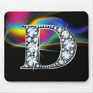 """D"" Diamond Bling with Rainbow Swirl Mousepad"