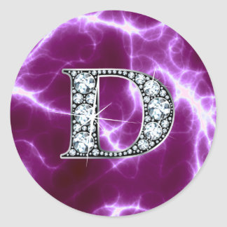 "D ""Diamond"" Monogram on Lightning Bolt Round Sticker"