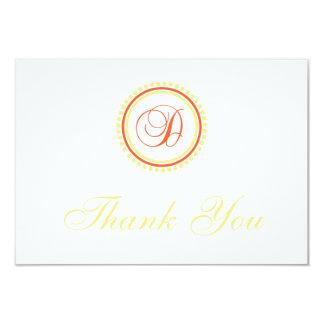 D Dot Circle Monogam Thank You (Orange / Yellow) 3.5x5 Paper Invitation Card