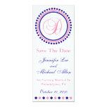D Dot Circle Monogram Save The Date (Blue / Pink) Card