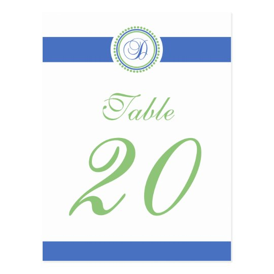 D Dot Circle Monogram Table Number (Mint / Blue) Postcard