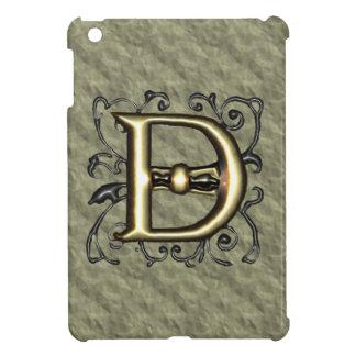 D - Embossed Vintage Monogram (Gold) iPad Mini Cases