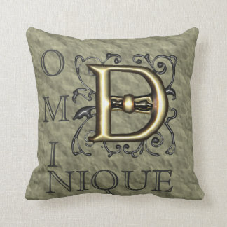 D - Embossed Vintage Monogram (Gold) Throw Pillow