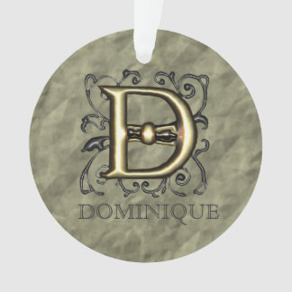 D - Embossed Vintage Monogram Ornament