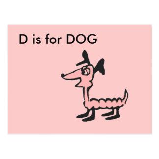 """D"" está para el alfabeto Flashcard del perro Tarjeta Postal"