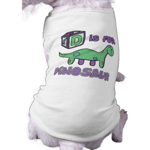 D está para la camisa del perro del dinosaurio camisetas mascota