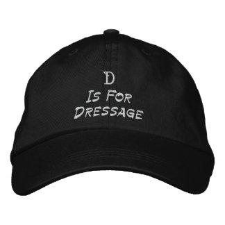 D está para la gorra de béisbol bordada Dressage