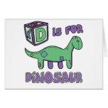 D está para la tarjeta del dinosaurio