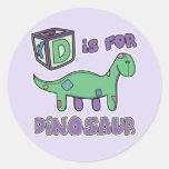 D está para los pegatinas del dinosaurio pegatinas redondas