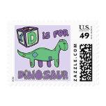 D está para los sellos del dinosaurio
