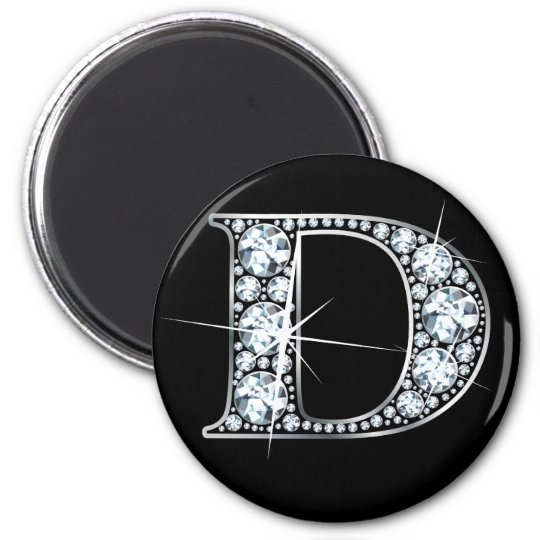 """D"" Faux-""Diamond Bling"" Magnet"