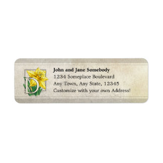 D for Daffodil Flower Monogram Address Labels