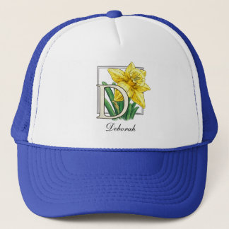 D for Daffodil Flower Monogram Hat
