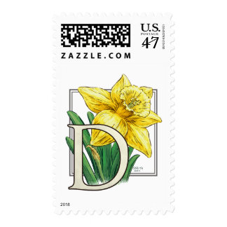 D for Daffodil Flower Monogram Postage