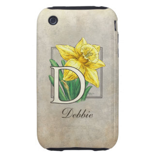 D for Daffodil Flower Monogram Tough iPhone 3 Case