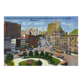 D & H Bldg View of State Street to Capitol Poster