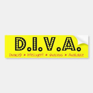 D.I.V.A. Mujer divorciada Pegatina De Parachoque