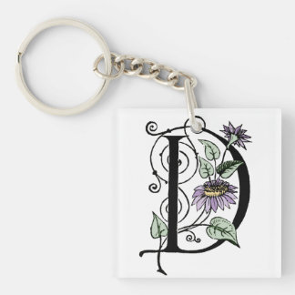 D Initial Cap Decorative Floral Design Vintage Single-Sided Square Acrylic Keychain