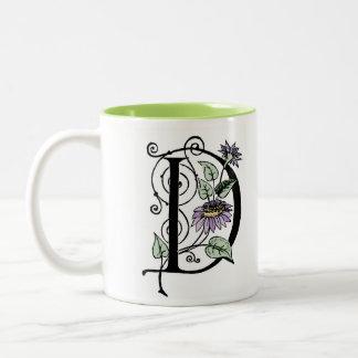 D Initial Cap Floral Mug