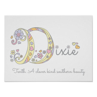 D initial Dixie girls name meaning poster