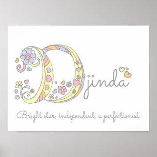 D initial Djinda girls name meaning poster