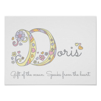 D initial Doris girls name meaning poster