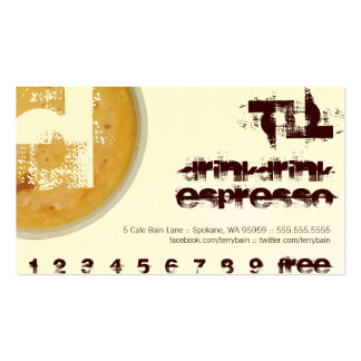D - Initial Letter Foamy Coffee Cup Loyalty Punch Business Card