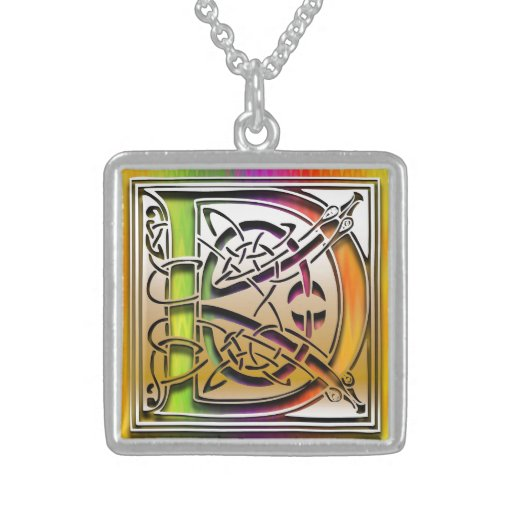 "D Initial Monogram ""Celtic Rainbow"" Necklace"