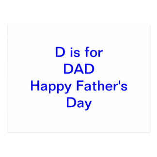 D is For DAD Father's Day New Father Postcard