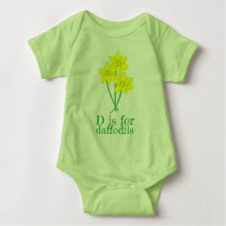 D is for DAFFODILS Yellow Flowers Alphabet ABCs Baby Bodysuit