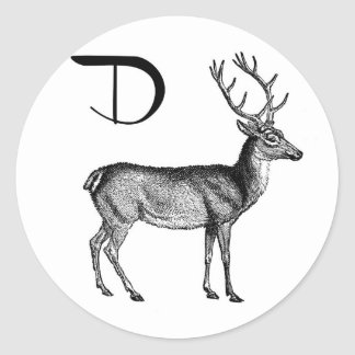 D is for Deer Classic Round Sticker