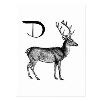 D is for Deer Postcard
