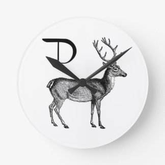 D is for Deer Round Clock