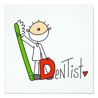 D is for Dentist 5.25x5.25 Square Paper Invitation Card
