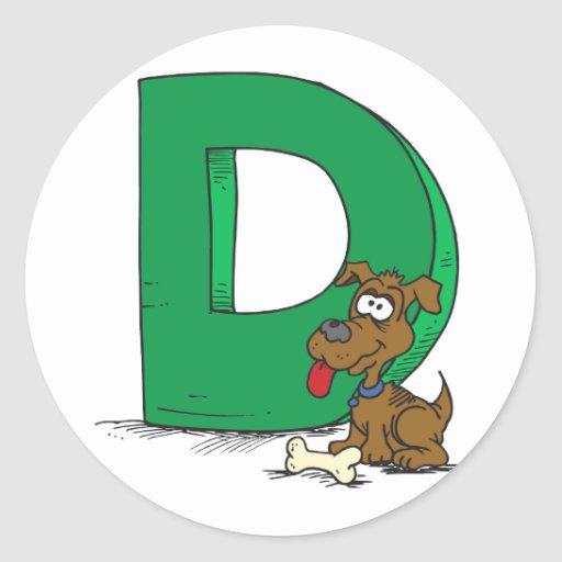 D Is For Dog Classic Round Sticker