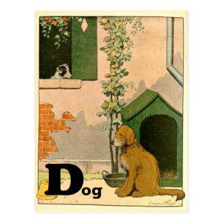 D is for Dog Golden Retriever and Terrier Alphabet Postcard