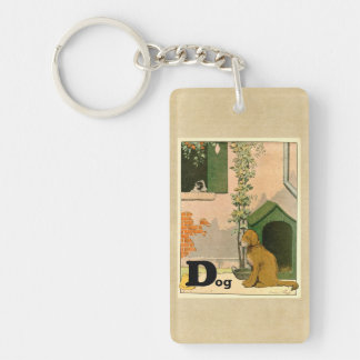 D is for Dog - Golden Retriever and Terrier Double-Sided Rectangular Acrylic Keychain