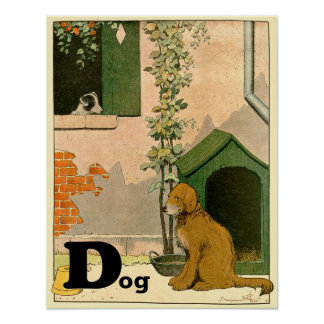 D is for Dog - Golden Retriever and Terrier Poster