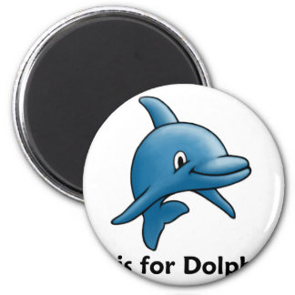 D is for Dolphins 2 Inch Round Magnet