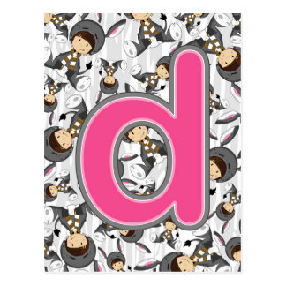 D is for Donkey Girl Postcard