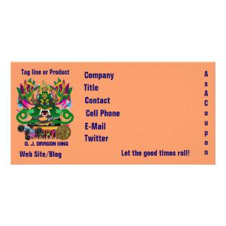 D. J. Dragon King Mardi Gras Theme Plse View Notes Photo Card Template