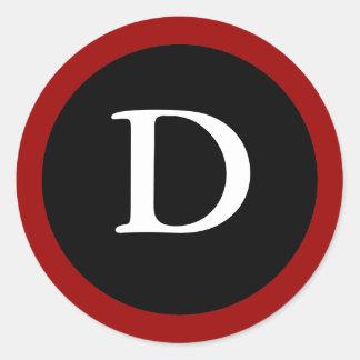 D: Letra inicial pegatina rojo, blanco y negro de