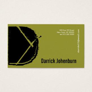 D Letter Alphabet Business Card Green